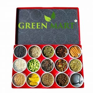 kerala spice gift box containing pepper, clove, cinnamon, allspice, green cardamom, star anise, bird eye chilli, jeera, fenugreek, turmeric, caraway, vanilla